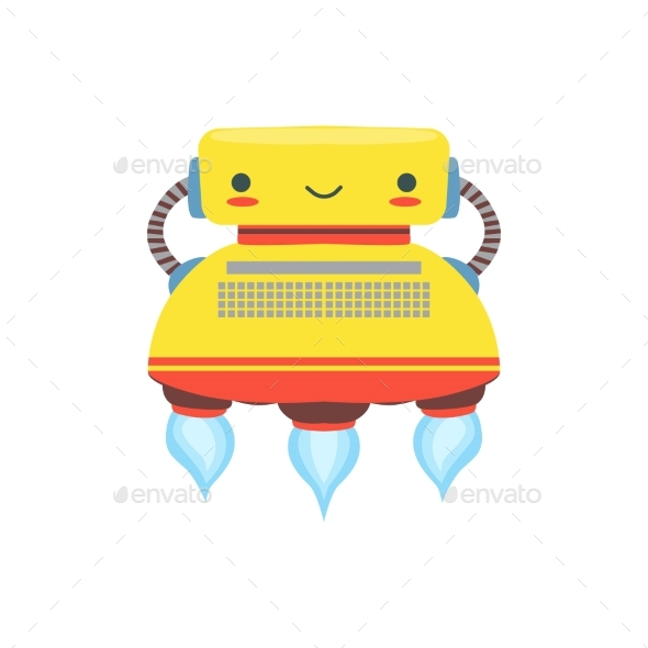 Yelllow Flying Friendly Android Robot Character - Miscellaneous Characters