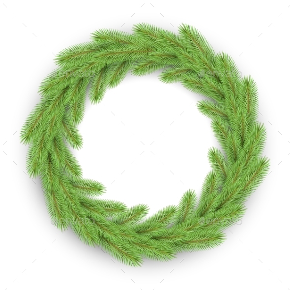 Vector Green Christmas Wreath - Christmas Seasons/Holidays