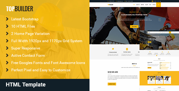TopBuilder – Construction Business HTML Template
