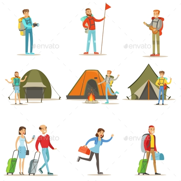 Happy People Traveling and Camping - Travel Conceptual