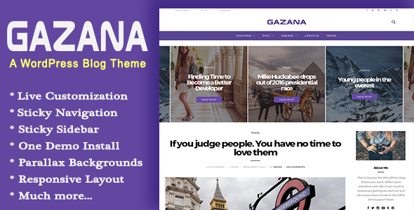 Gazana – A Responsive WordPress Blog Theme