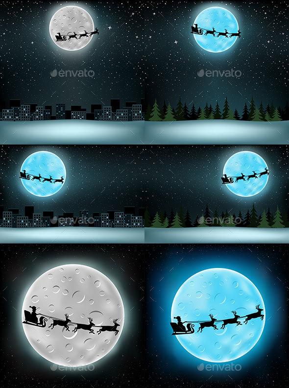 Santa Flying Moon City - Christmas Seasons/Holidays