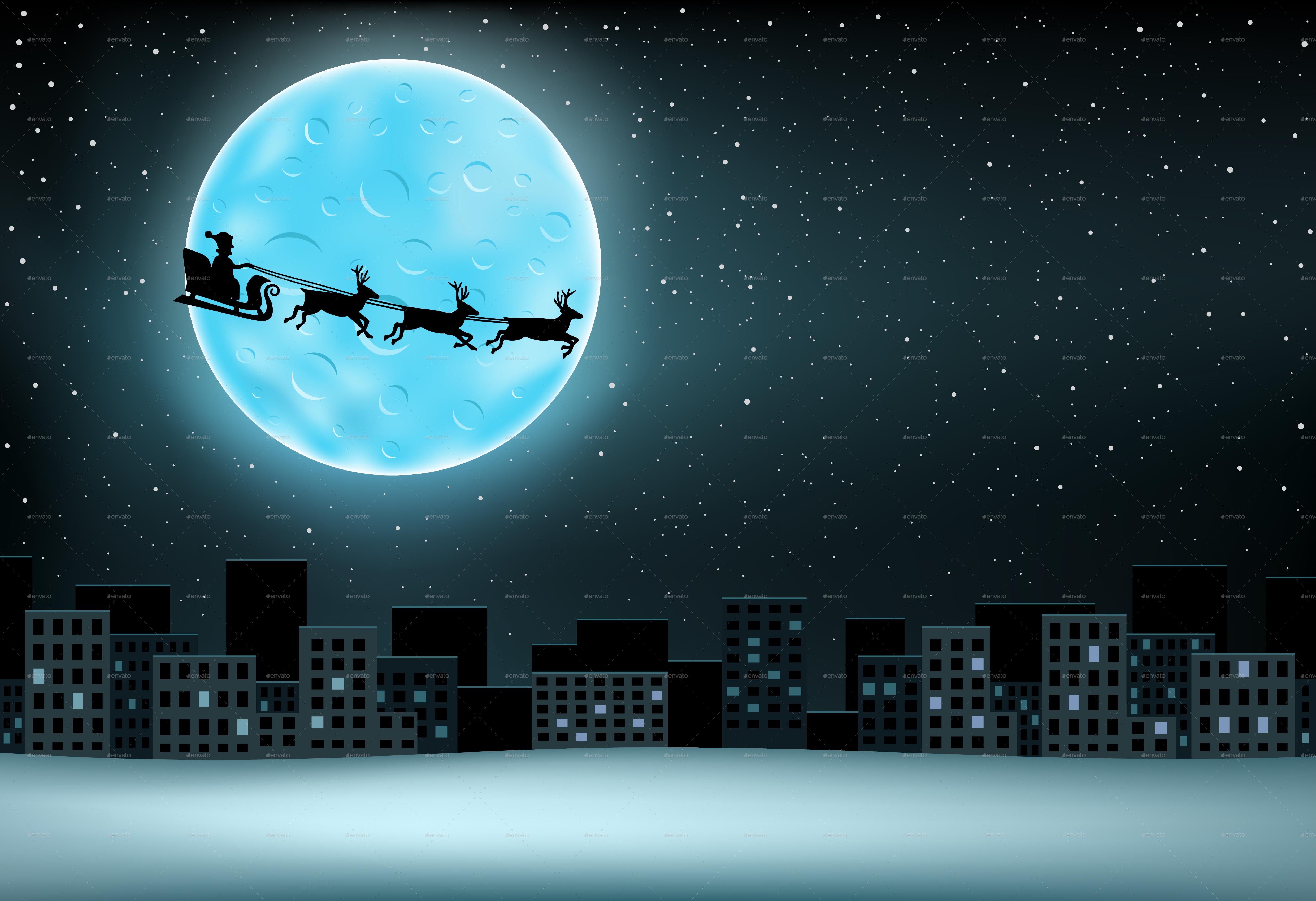 santa flying moon city by romvo