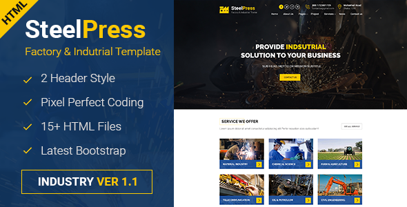 SteelPress – Industrial & Factory Business HTML Template