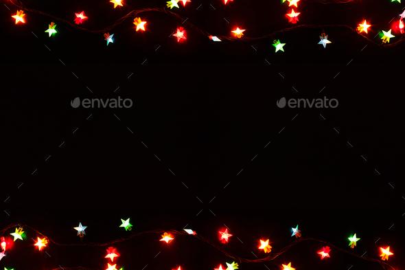 Christmas Lights Border On Black Background