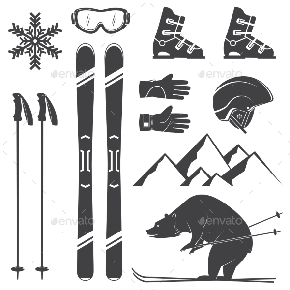 Set of Skiing Equipment Silhouette Icons - Sports/Activity Conceptual