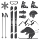 Set of Skiing Equipment Silhouette Icons - GraphicRiver Item for Sale