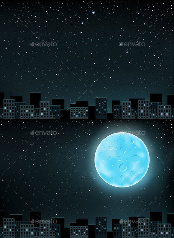 Stars Night Over City - Landscapes Nature