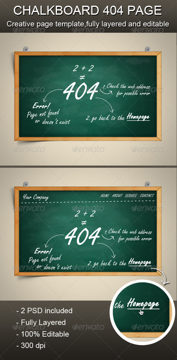 Chalkboard 404 Error Page by xwisnux | GraphicRiver