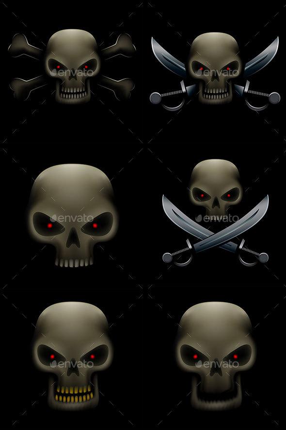 Pirate Skull with Sabers - Decorative Symbols Decorative