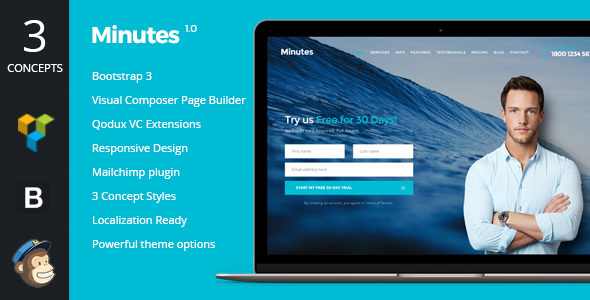 Minutes – Startup Landing Page Bootstrap WP Theme