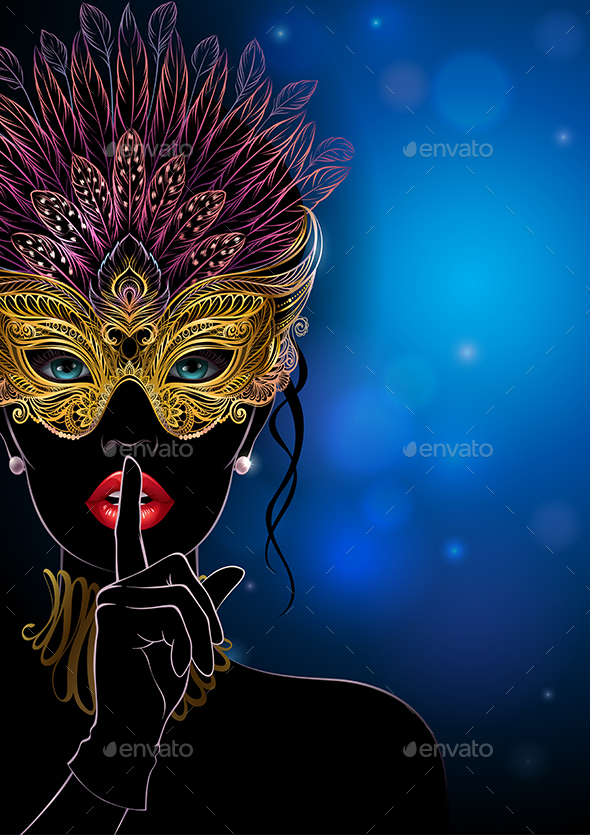 Silhouette of Mysterious Lady in Golden Carnival Mask - Miscellaneous Seasons/Holidays
