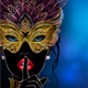 Silhouette of Mysterious Lady in Golden Carnival Mask - GraphicRiver Item for Sale