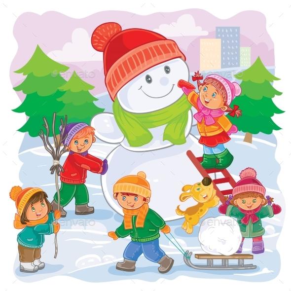 Illustration of Little Children Playing - Christmas Seasons/Holidays