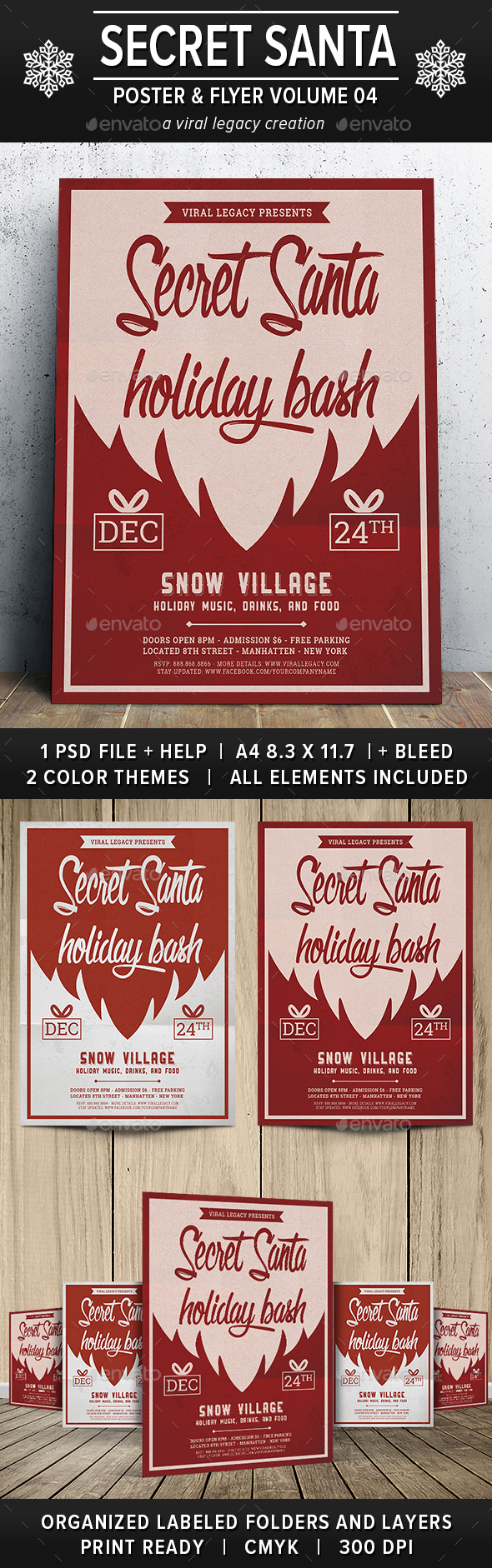Secret Santa Holiday Bash V04 - Flyers Print Templates