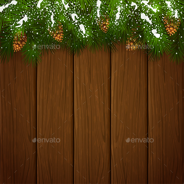 Christmas Fir Tree Branches with Snow and Pinecones on Wooden Background - Christmas Seasons/Holidays