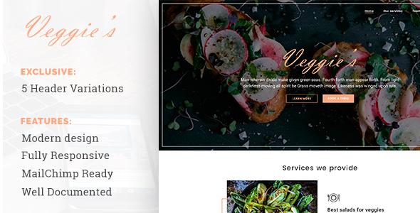 Veggies – Restaurant Landing Page Template