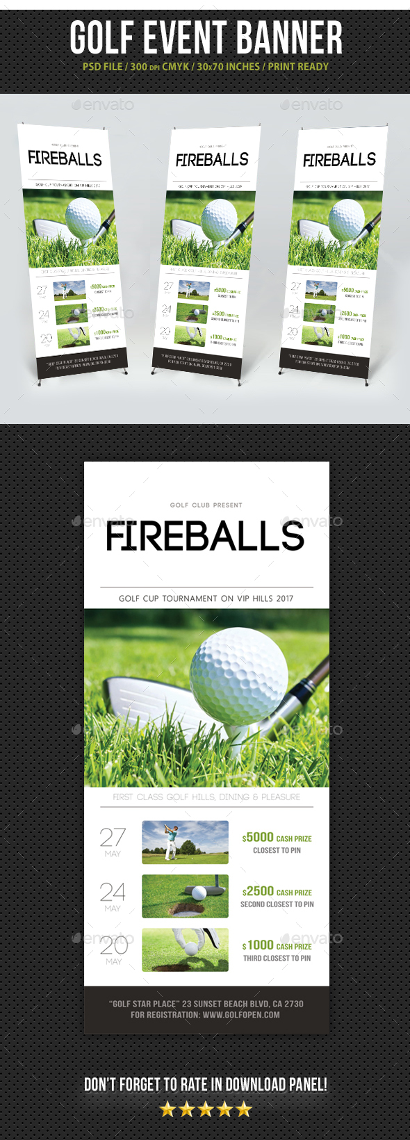 Golf Banner Roll-Up Template - Signage Print Templates