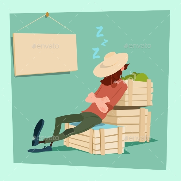 Farmer Countryman Sleeping on Vegetable Boxes - People Characters