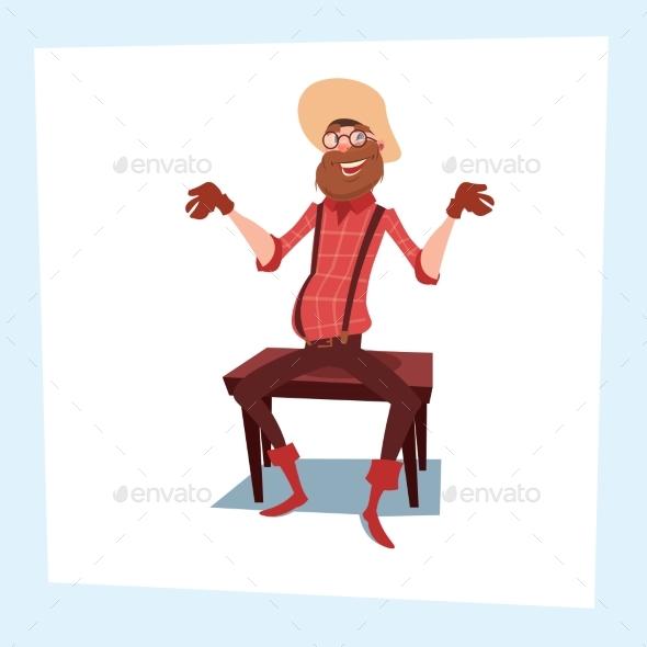 Farmer Cartoon Character Senior Cowboy - People Characters