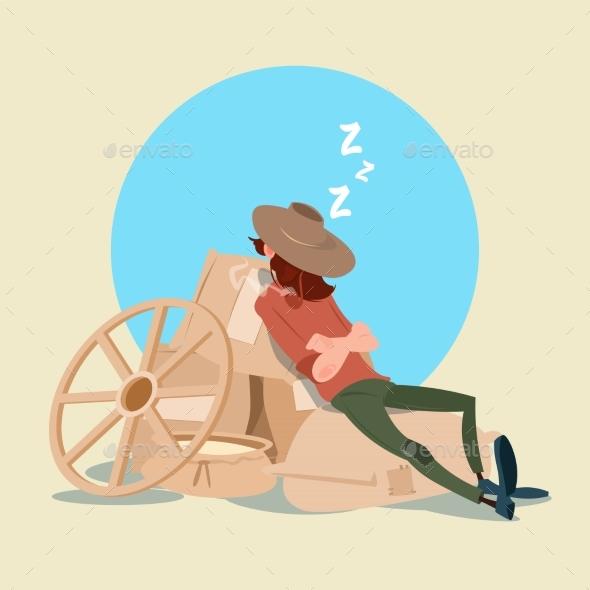 Farmer Countryman Sleeping on WHeat Sacks - People Characters