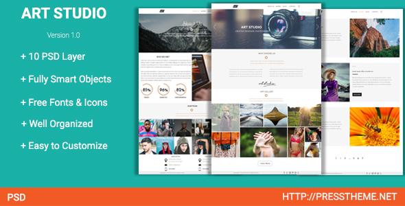 Art Studio PSD Template By Presstheme ThemeForest - Online art gallery website template