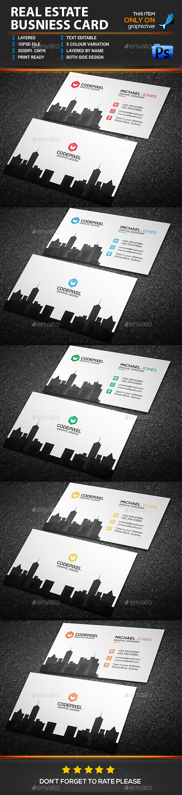 Real estate business card by hazepixel graphicriver real estate business card business cards print templates reheart Choice Image