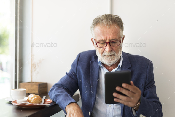 Senior Man Coffee Shop Communication Connection Technology Conce - Stock Photo - Images