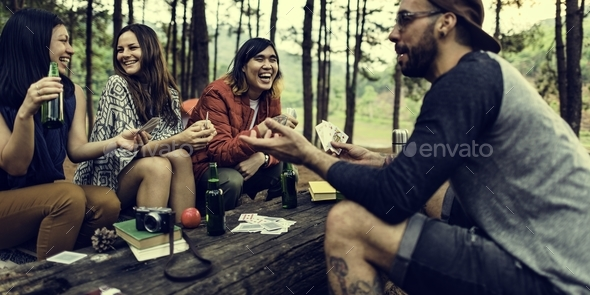 People Friendship Hangout Traveling Destination Camping Concept - Stock Photo - Images