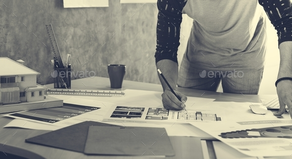 Design Studio Architect Creative Occupation Blueprint Concept - Stock Photo - Images