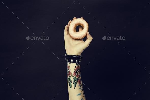 Tattoo Woman Dounut Doughnut Dessert Pastry Concept - Stock Photo - Images