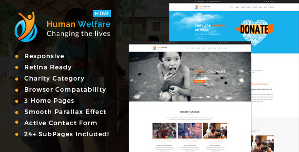 Human Welfare – Responsive HTML Template for Charity & Fund Raising
