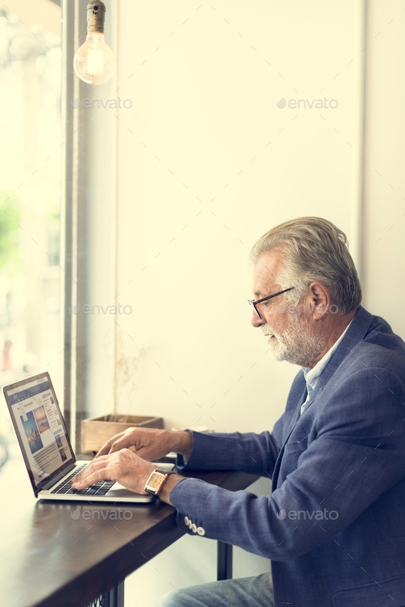 Senior Man Working Coffee Shop Realxation Concept - Stock Photo - Images