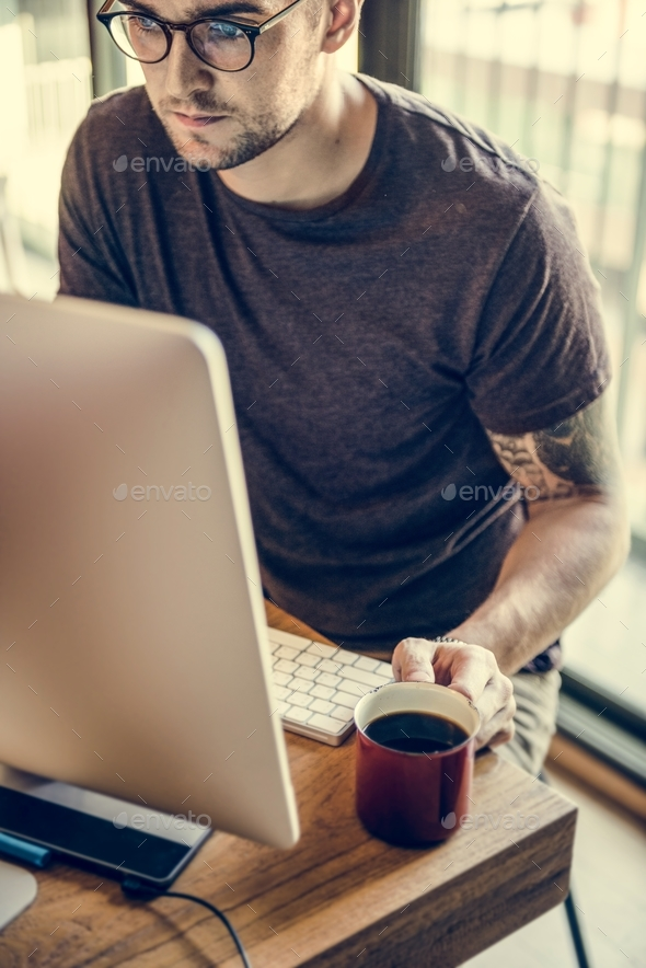 Man Busy Photographer Editing Home Office Concept - Stock Photo - Images