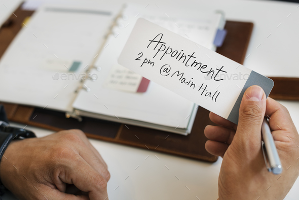 Business Man Holding Appointment Note Concept - Stock Photo - Images