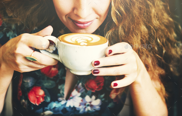 Woman Drinking Coffee Breakfast Refreshment Concept - Stock Photo - Images