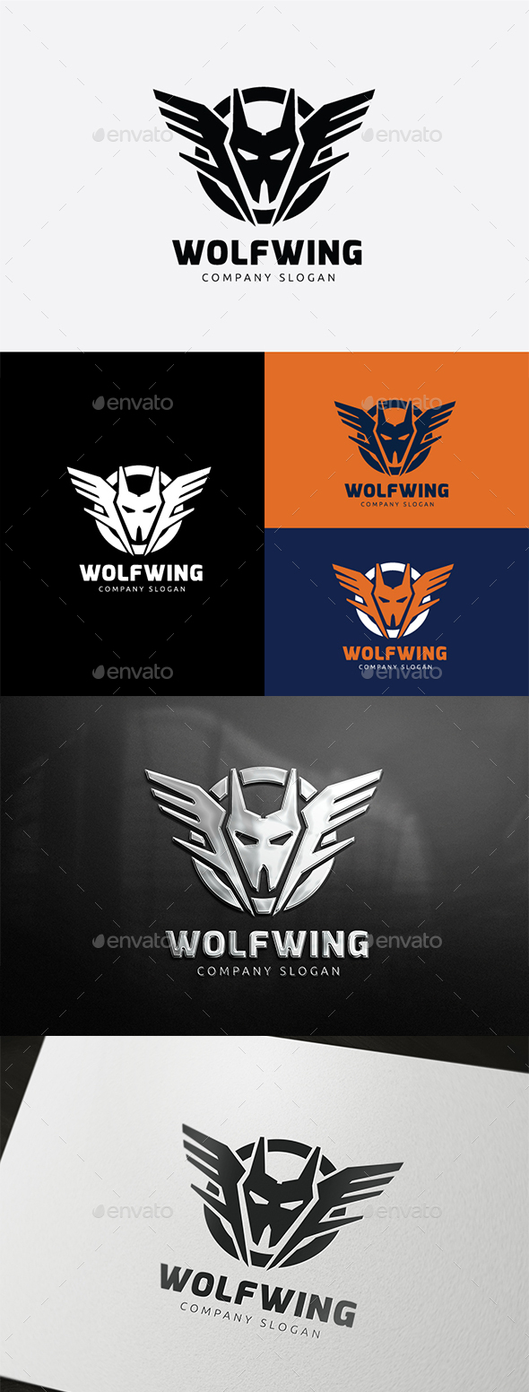 Wolf Wing Logo - Animals Logo Templates