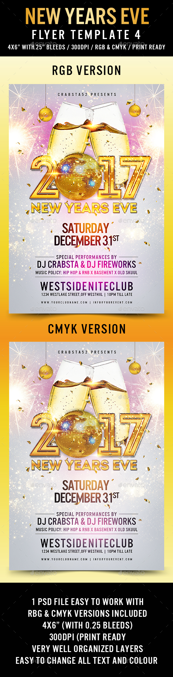 New Years Eve Flyer Template 4 - Clubs & Parties Events