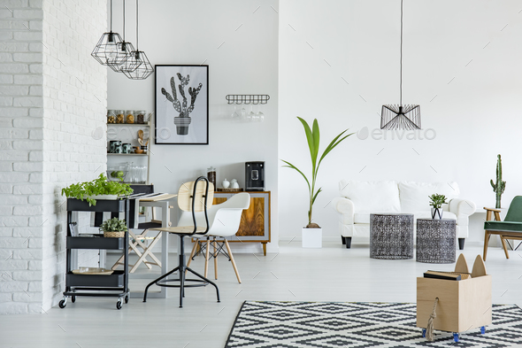 White apartment with pattern carpet - Stock Photo - Images