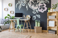 Home workspace with chalkboard