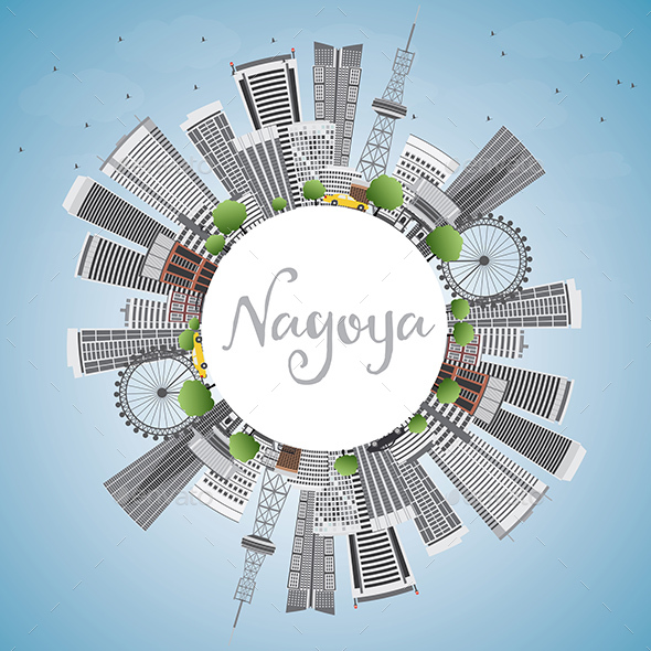 Nagoya Skyline with Gray Buildings - Buildings Objects
