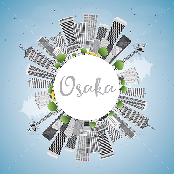 Osaka Skyline with Gray Buildings - Buildings Objects