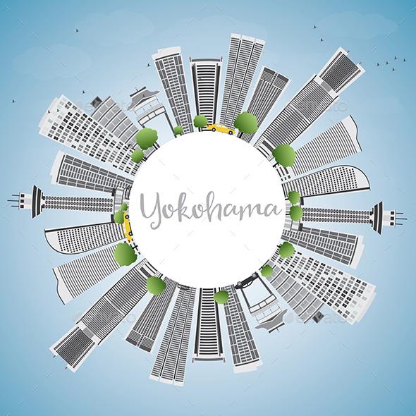 Yokohama Skyline with Gray Buildings - Buildings Objects