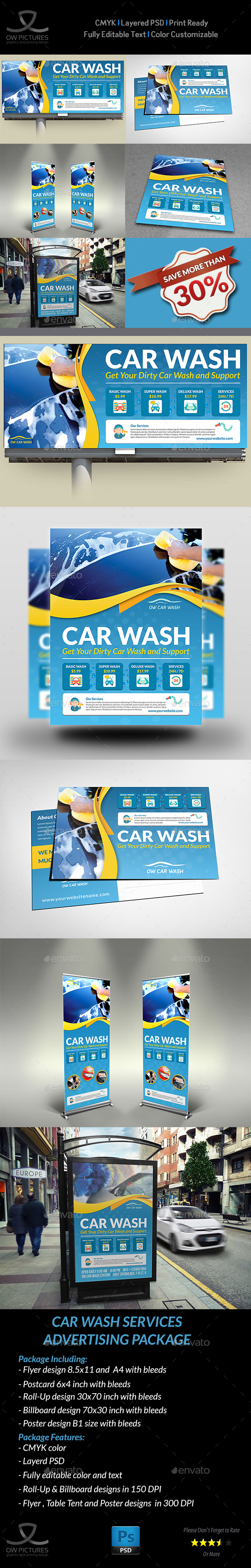 Car Wash Services Advertising Bundle Template - Signage Print Templates