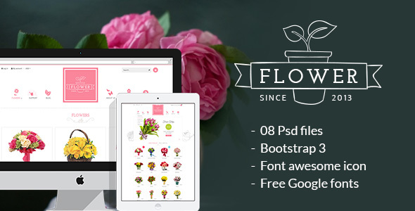 Flower Store PSD Design Template - Health & Beauty Retail