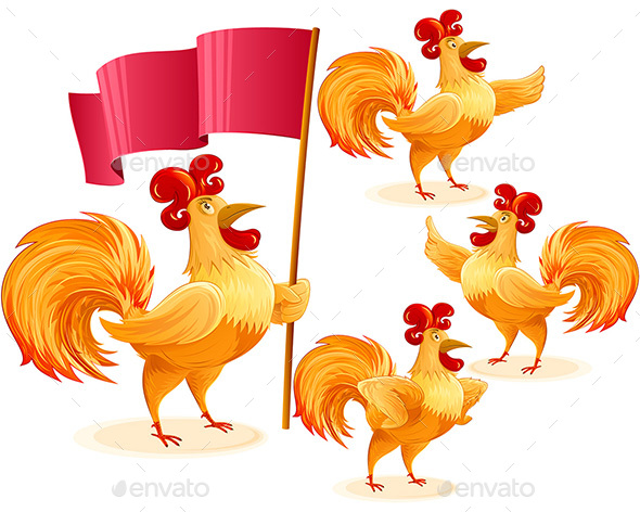 Rooster Christmas Chinese New Year Symbol Cartoon Character Colorful Set - Animals Characters