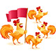 Rooster Christmas Chinese New Year Symbol Cartoon Character Colorful Set