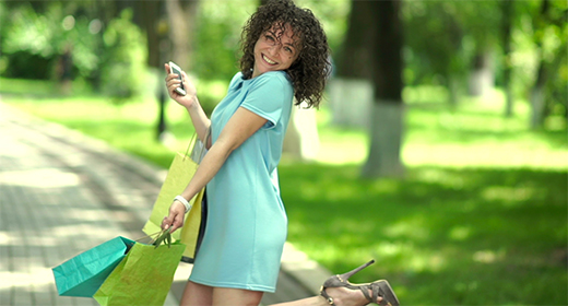 Girl with curly hair outdoor
