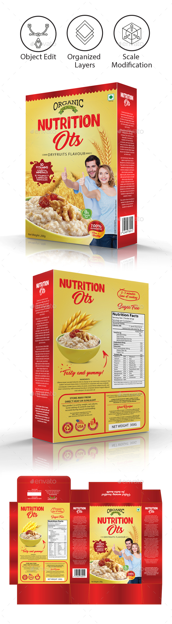 Oats / Cereal Packaging Template - Packaging Print Templates