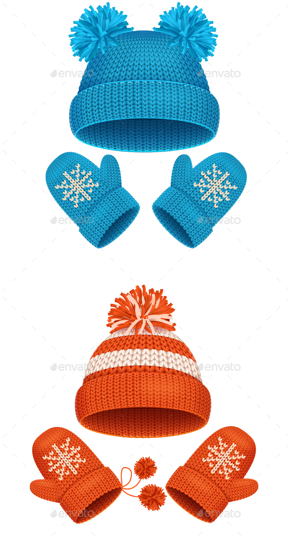 Hat and Mitten Set Winter Accessories. Vector - Objects Vectors